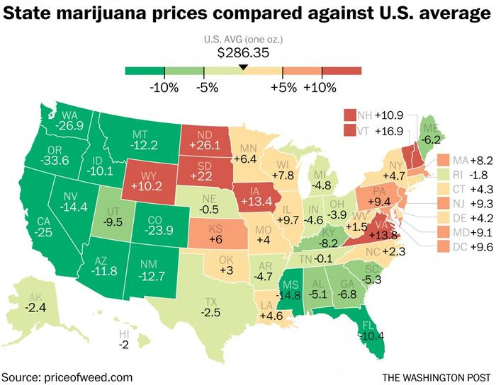 How the Price of Cannabis Differs in 50 States and 8 Major Cities