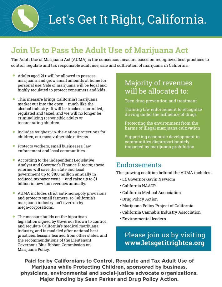 California's Adult Use Marijuana Act